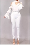 Blinged Cutout Pants (White)