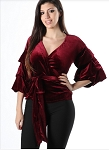 VELVET WRAP TOP (BURGUNDY)