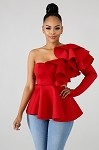 Speciality Ruffle Top (Red)
